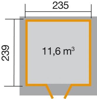 Weka Gerätehaus 21 mm Gartenhaus 227 Gr. 2 rot 255x280cm Bild 2
