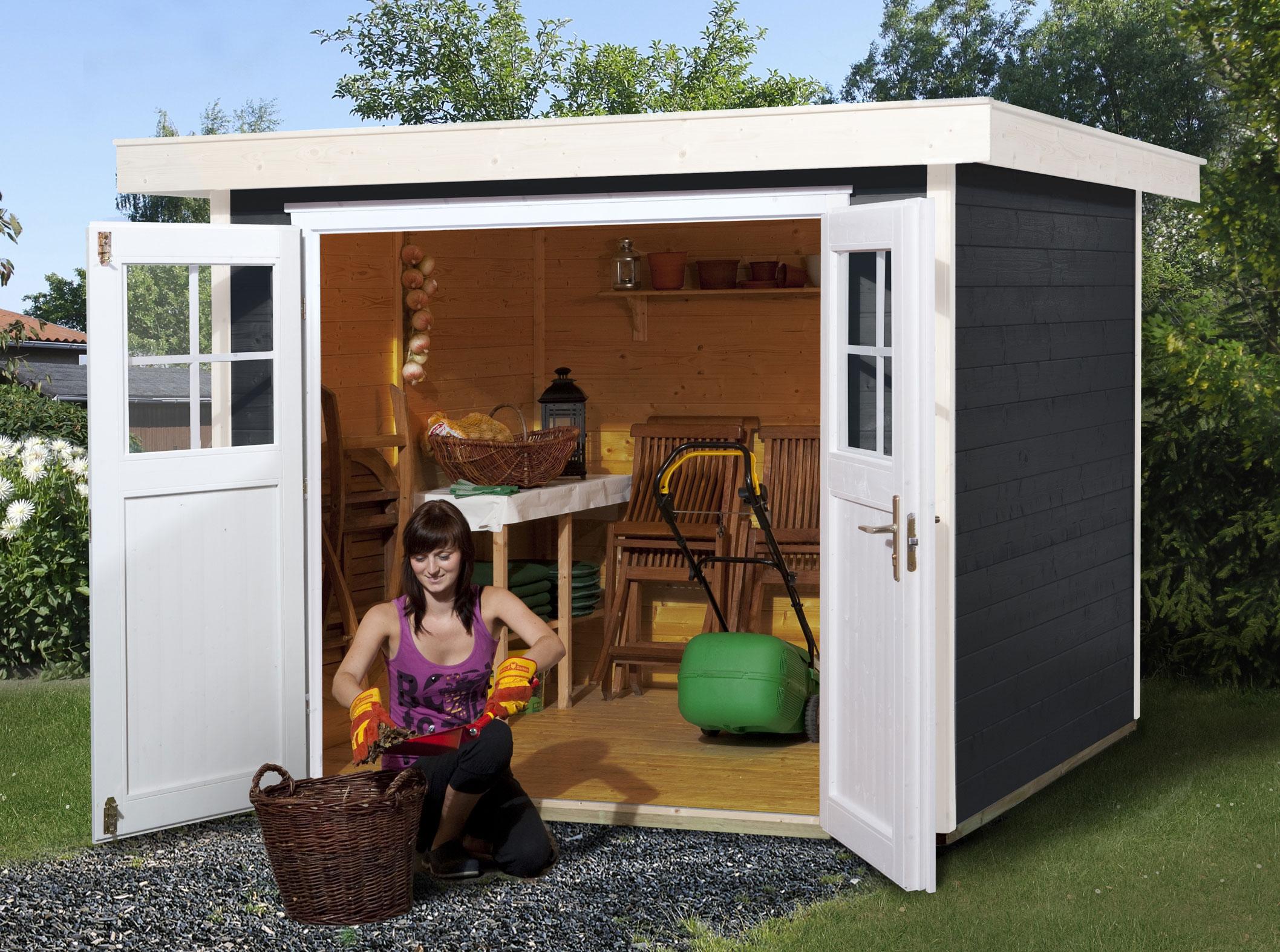 Weka Gerätehaus 21 mm Gartenhaus 227 Gr.1 anthrazit 225x249cm Bild 1