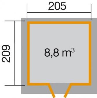 Weka Gerätehaus 21 mm Gartenhaus 227 Gr.1 anthrazit 225x249cm Bild 2