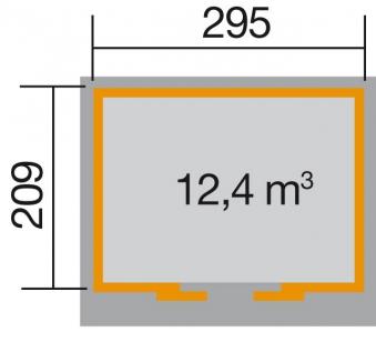 Weka Gerätehaus 21 mm Schiebetürhaus 225 Gr. 1 grau 315x249cm Bild 2