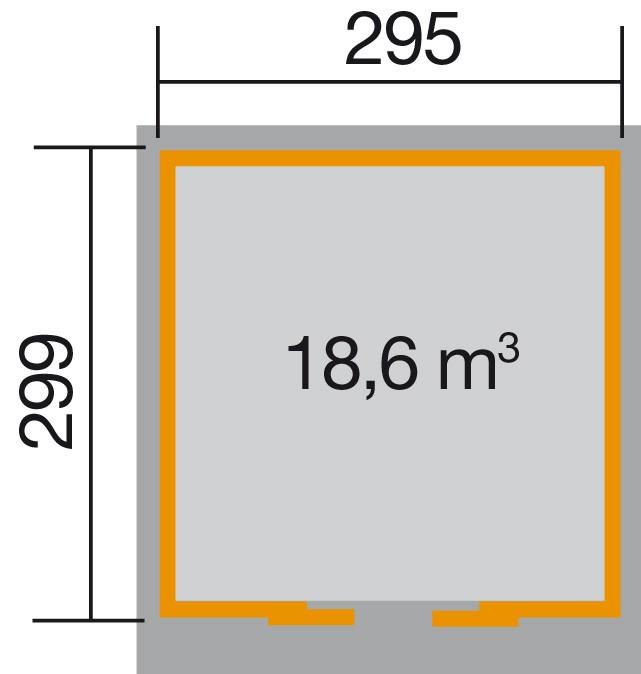 Weka Gerätehaus 21 mm Schiebetürhaus 225 Gr. 2 grau 315x335cm Bild 2