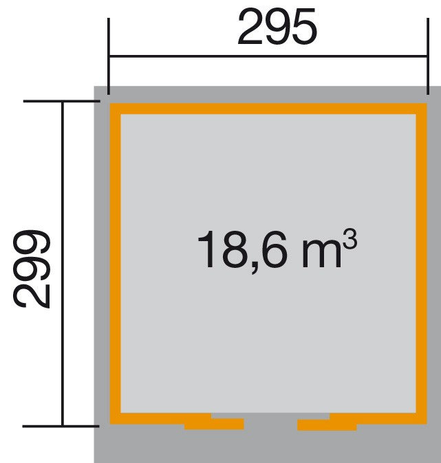 Weka Gerätehaus 21 mm Schiebetürhaus 225 Gr. 2 natur 315x335cm Bild 2