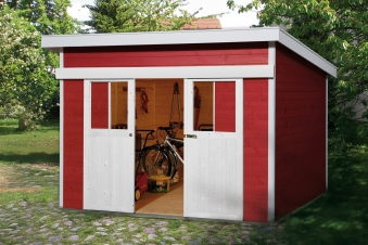 Weka Gerätehaus 21 mm Schiebetürhaus 225 Gr. 2 rot 315x335cm Bild 1