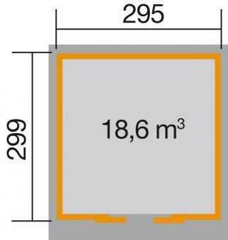 Weka Gerätehaus 21 mm Schiebetürhaus 225 Gr. 2 rot 315x335cm Bild 2