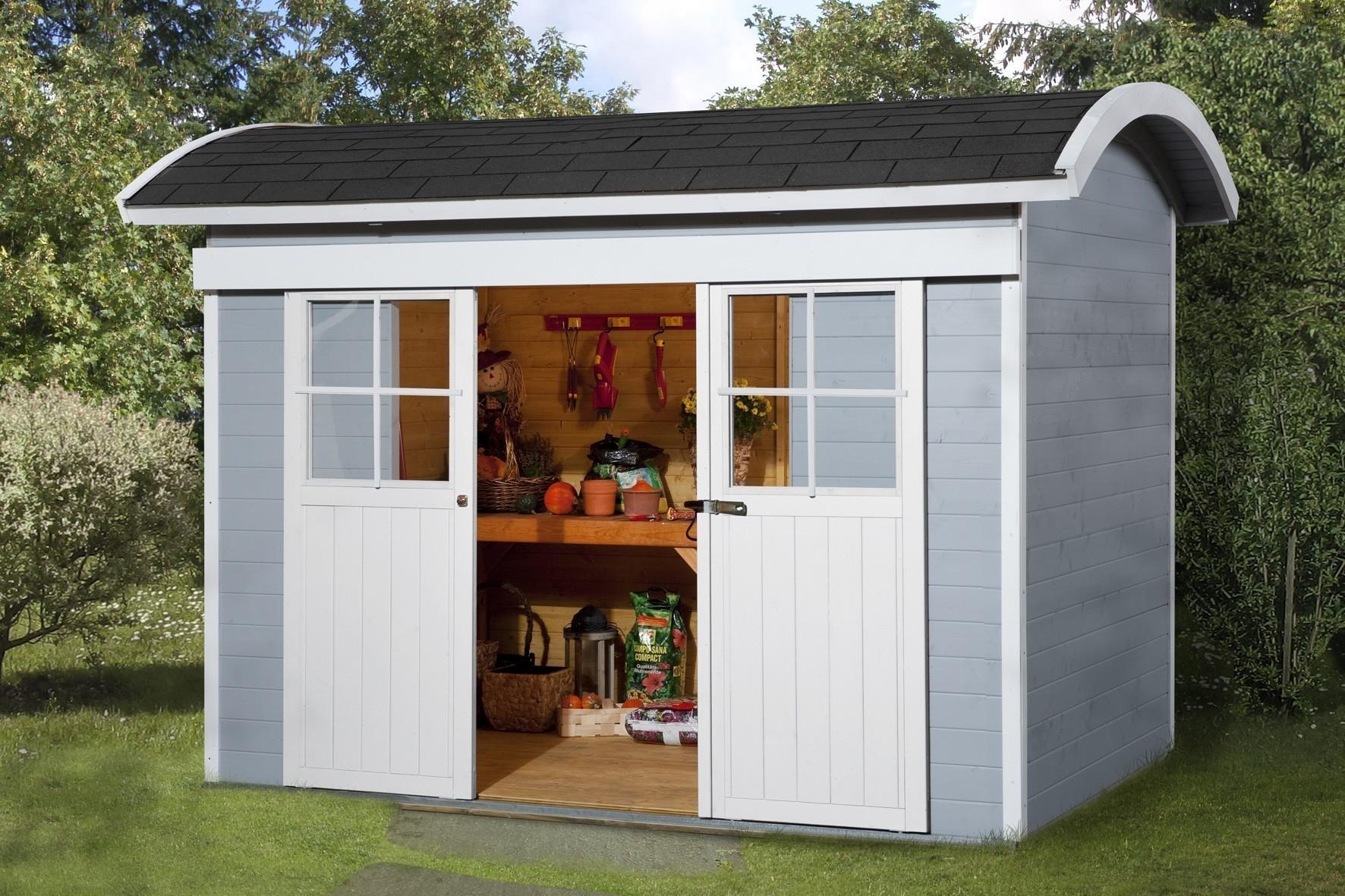 Weka Gerätehaus 21 mm Schiebetürhaus 228 grau 344x241cm Bogendach Bild 1