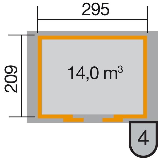 Weka Gerätehaus 21 mm Schiebetürhaus 228 grau 344x241cm Bogendach Bild 2