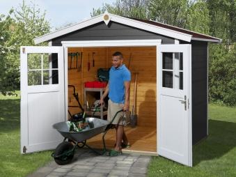 Weka Gerätehaus 21mm Gartenhaus 224 G 2 anthrazit 280x229cm Doppeltüre Bild 1