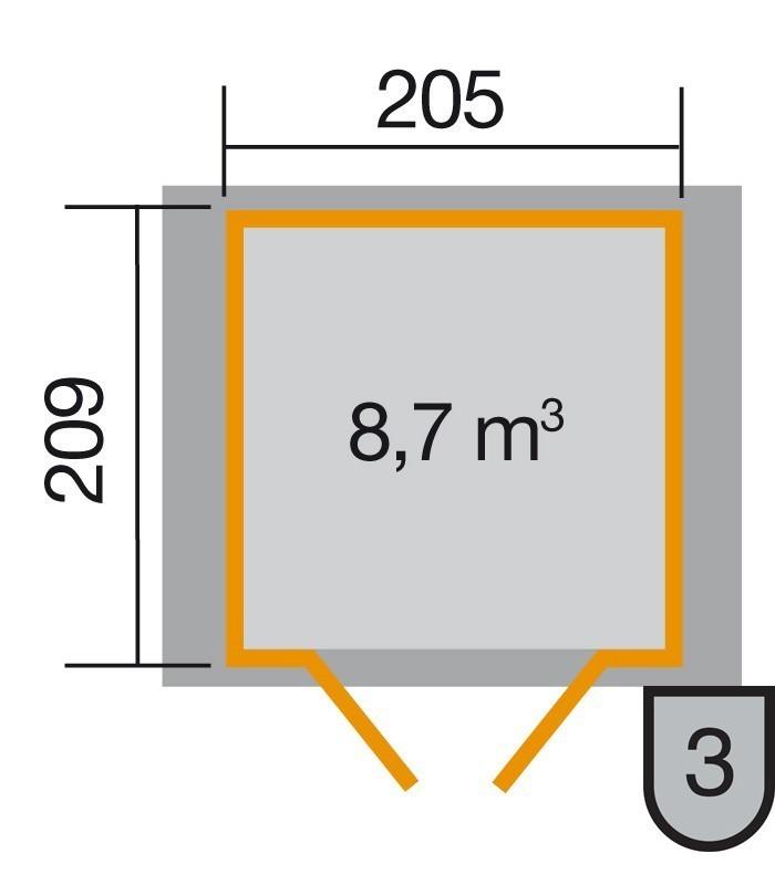 Weka Gerätehaus 21mm Gartenhaus 224 Gr.1 anthrazit 260x229cm Doppeltür Bild 2