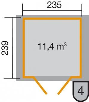Weka Gerätehaus 21mm Gartenhaus 224 Gr.3 anthrazit 280x259cm Doppeltür Bild 2