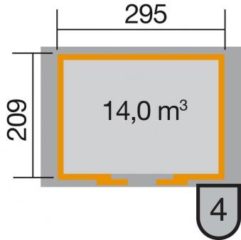 Weka Gerätehaus 21mm Schiebetürhaus 228 anthrazit 344x241cm Bogendach Bild 2