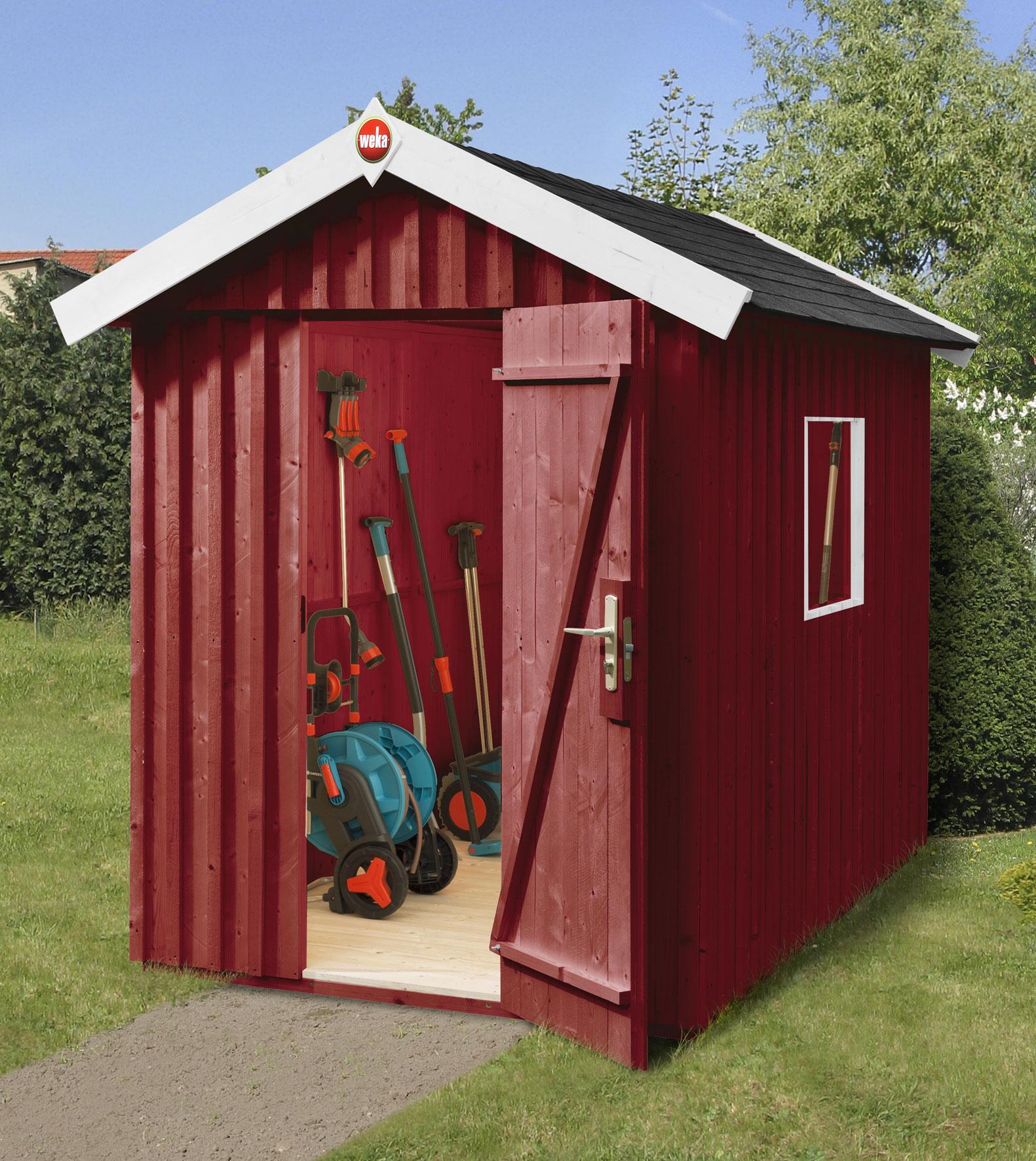 Weka Gerätehaus 32 mm Schwedenhaus Gr. 1 rot 200x208cm   bei