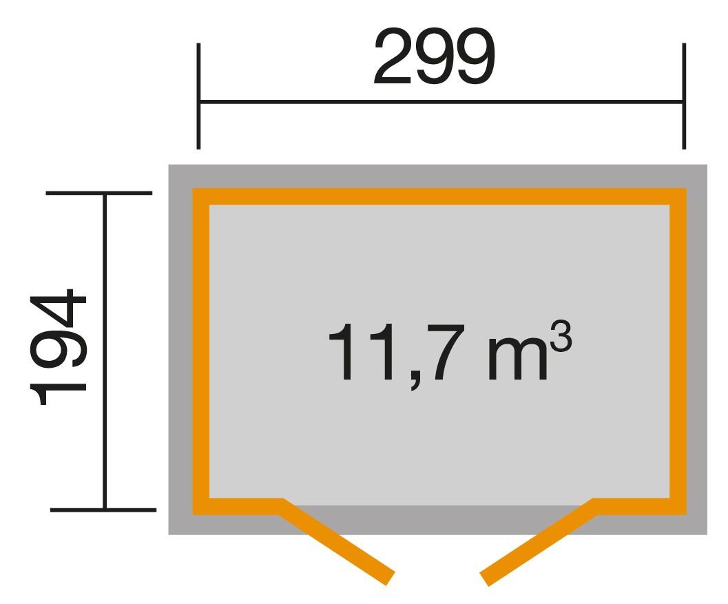 Weka Gerätehaus / Gartenhaus 19mm 321 Gr.4 natur 323x237cm Bild 2