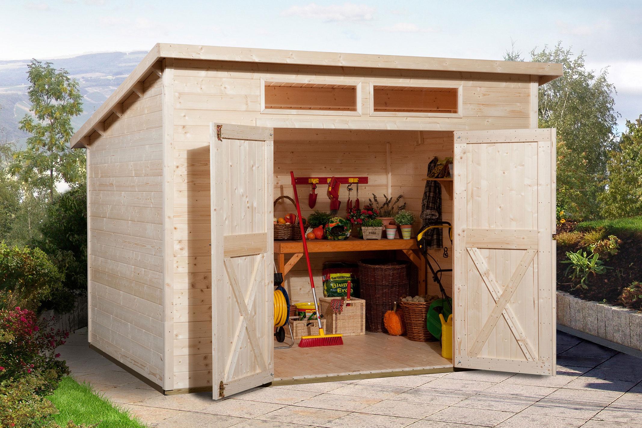 weka ger tehaus 19mm gartenhaus 325a gr 1 natur 278x237cm bei. Black Bedroom Furniture Sets. Home Design Ideas