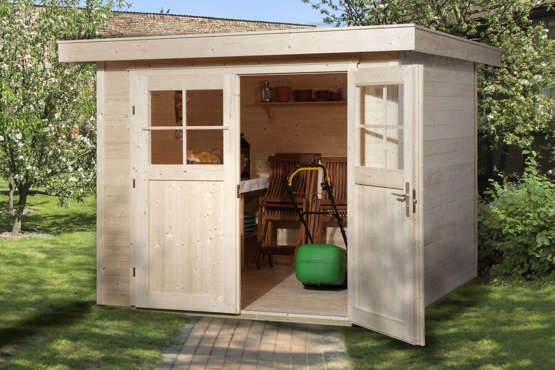 weka ger tehaus 21 mm gartenhaus 227 gr 2 natur 255x280cm bei. Black Bedroom Furniture Sets. Home Design Ideas