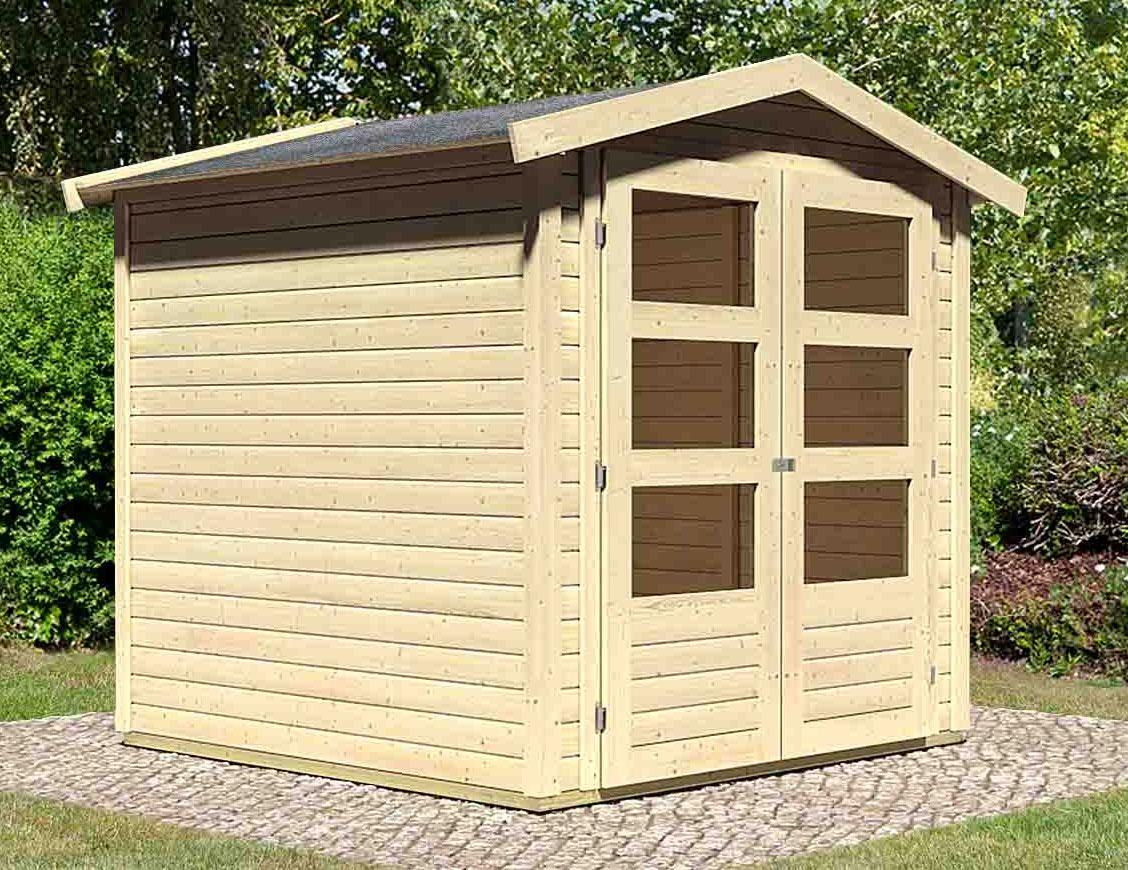 WoodFeeling Gartenhaus 19mm Amberg 2 natur 213x197cm Bild 1