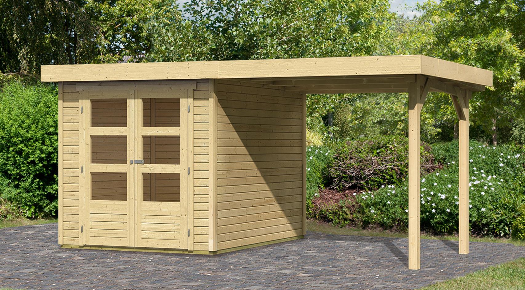 woodfeeling gartenhaus 19mm askola 2 natur 237x237cm schleppdach bei. Black Bedroom Furniture Sets. Home Design Ideas
