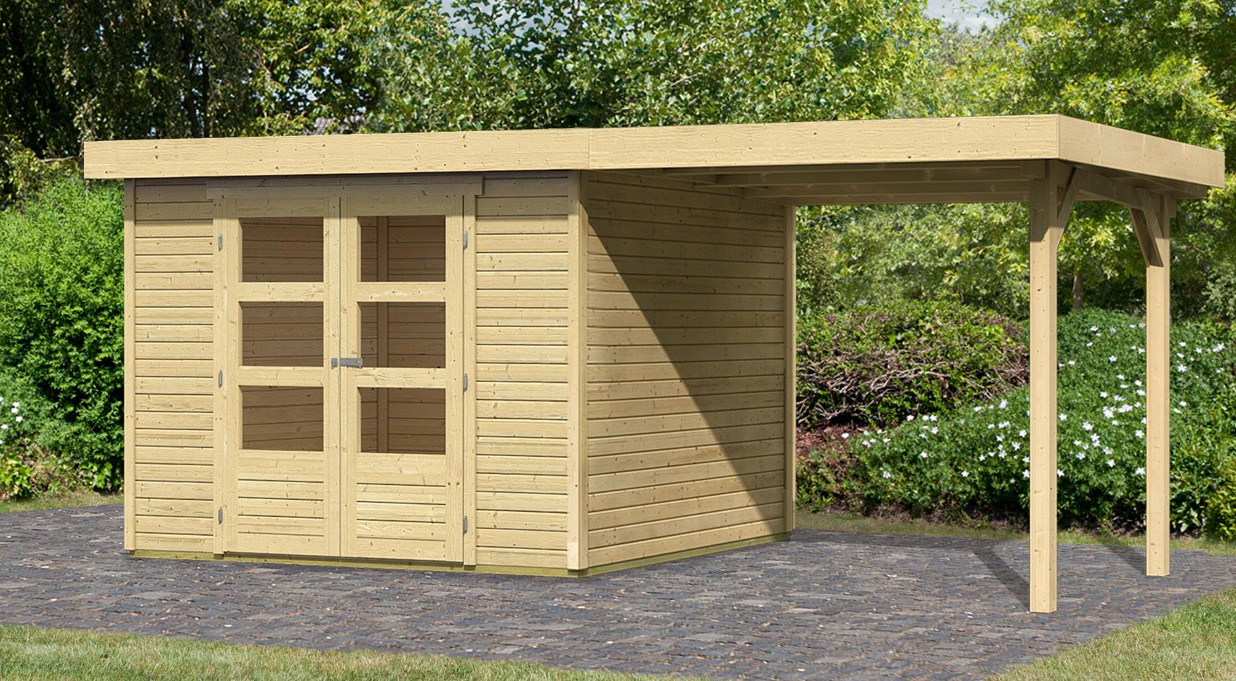 woodfeeling gartenhaus 19mm askola 4 natur 329x237cm schleppdach bei. Black Bedroom Furniture Sets. Home Design Ideas