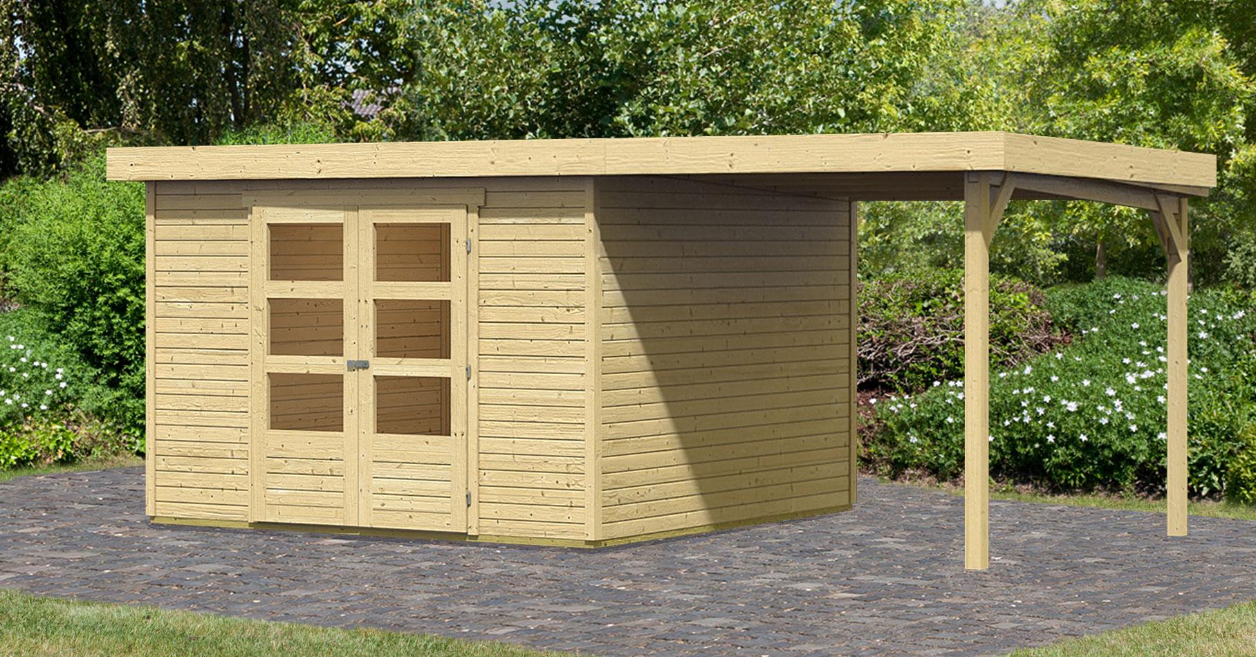 woodfeeling gartenhaus 19mm askola 5 natur 329x262cm schleppdach bei. Black Bedroom Furniture Sets. Home Design Ideas