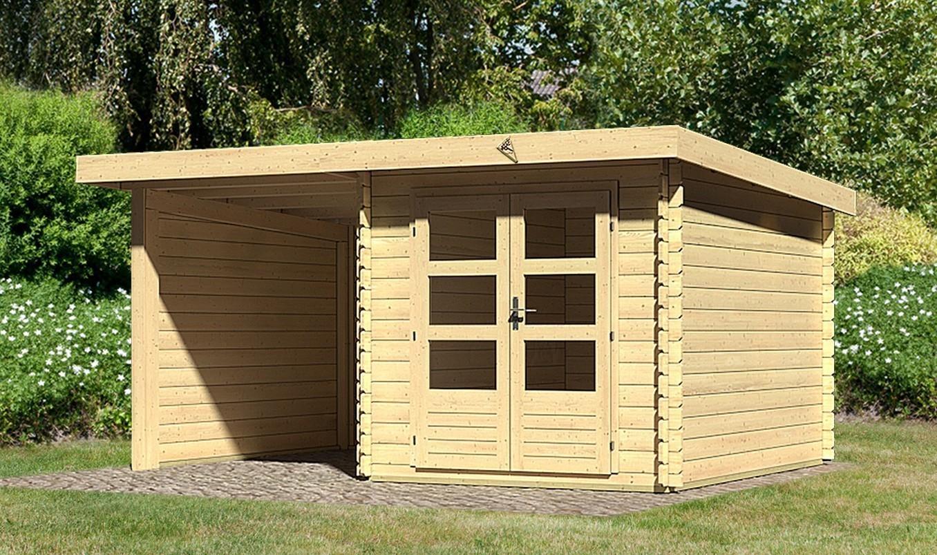 woodfeeling gartenhaus 28 mm bastrup 4 natur anbau 2m wand. Black Bedroom Furniture Sets. Home Design Ideas