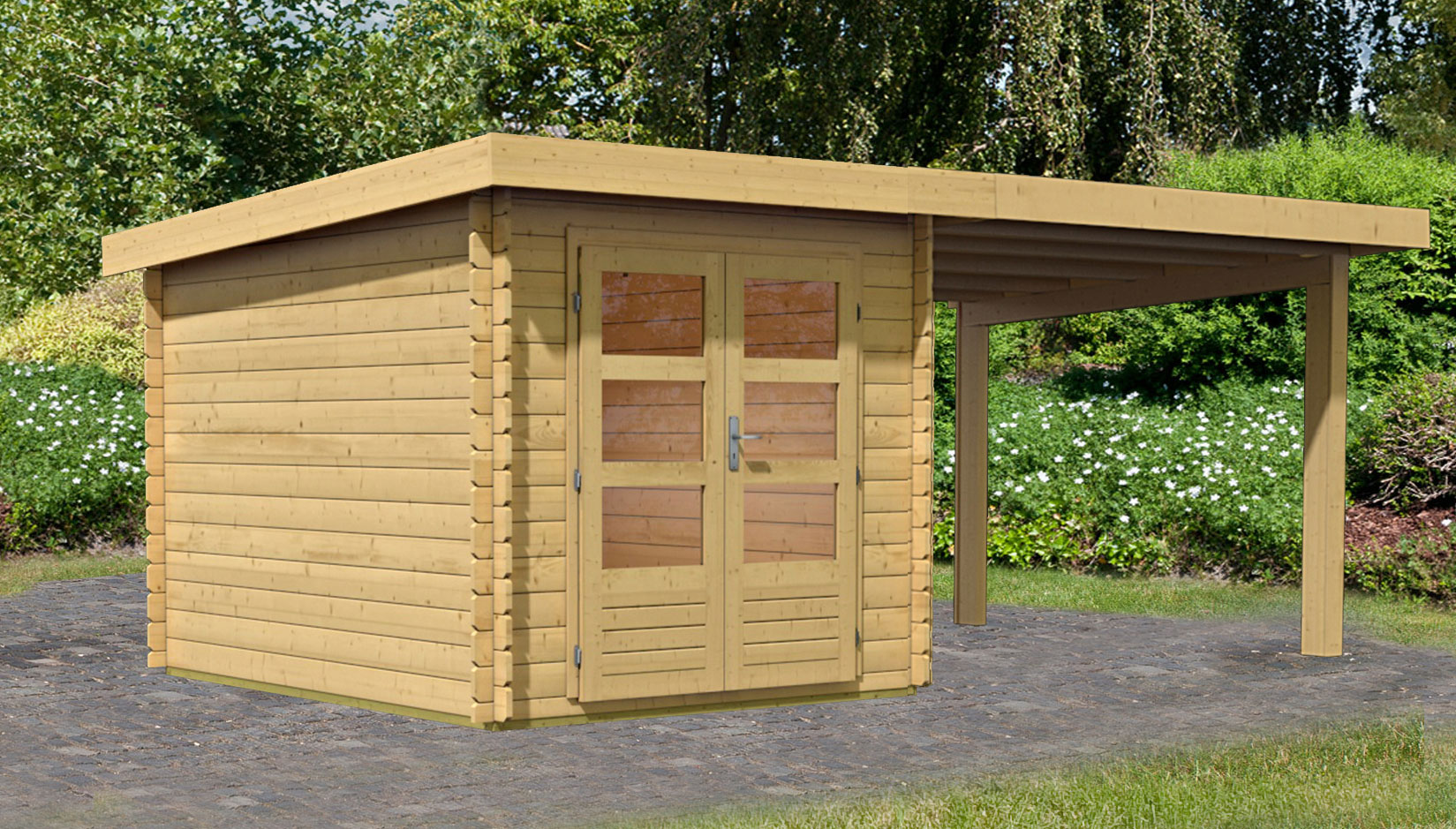 woodfeeling gartenhaus 28 mm bastrup 4 natur set 1 554x333cm bei. Black Bedroom Furniture Sets. Home Design Ideas
