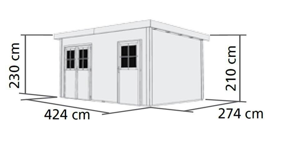WoodFeeling Gartenhaus 28 mm Mattrup natur 456x303cm Bild 2