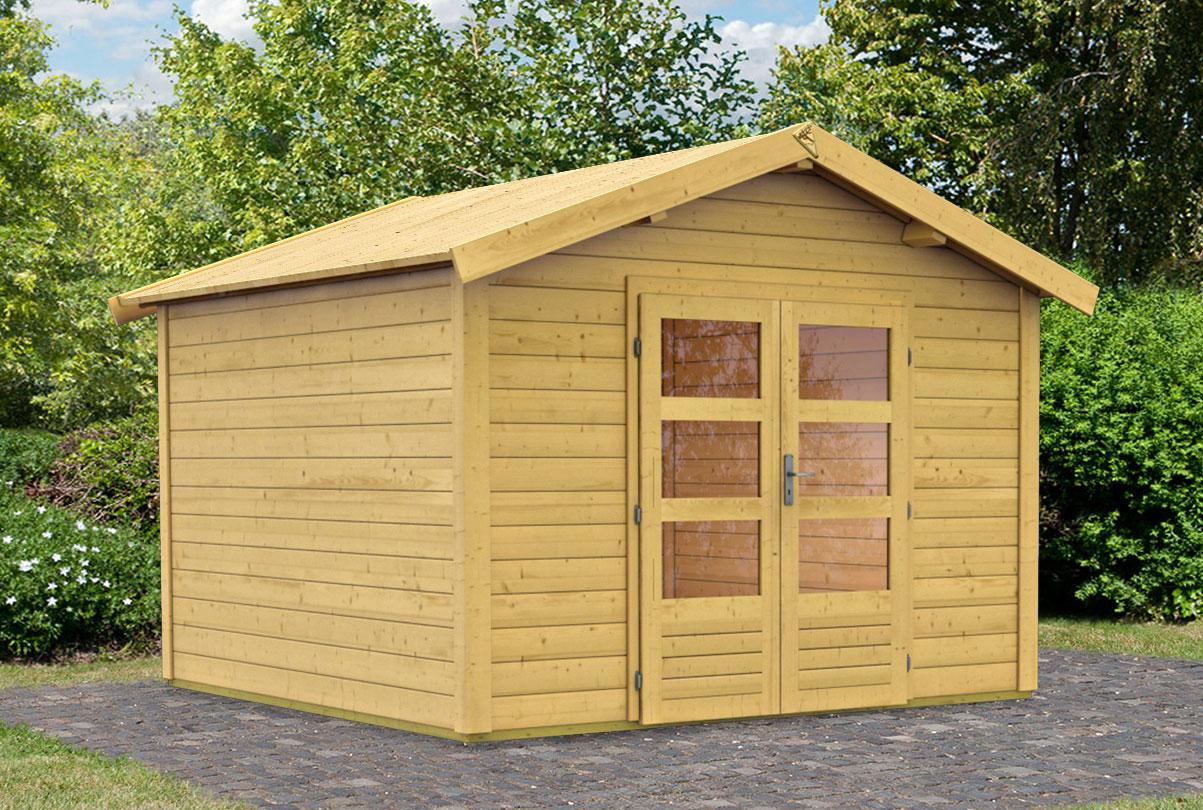 woodfeeling gartenhaus 28 mm tastrup 7 natur 328x348cm bei. Black Bedroom Furniture Sets. Home Design Ideas
