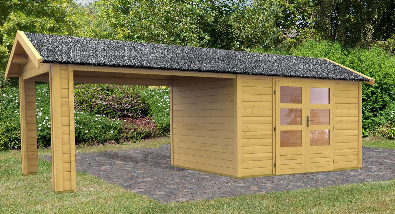 woodfeeling gartenhaus 28 mm tastrup 7 natur 528x348cm set. Black Bedroom Furniture Sets. Home Design Ideas