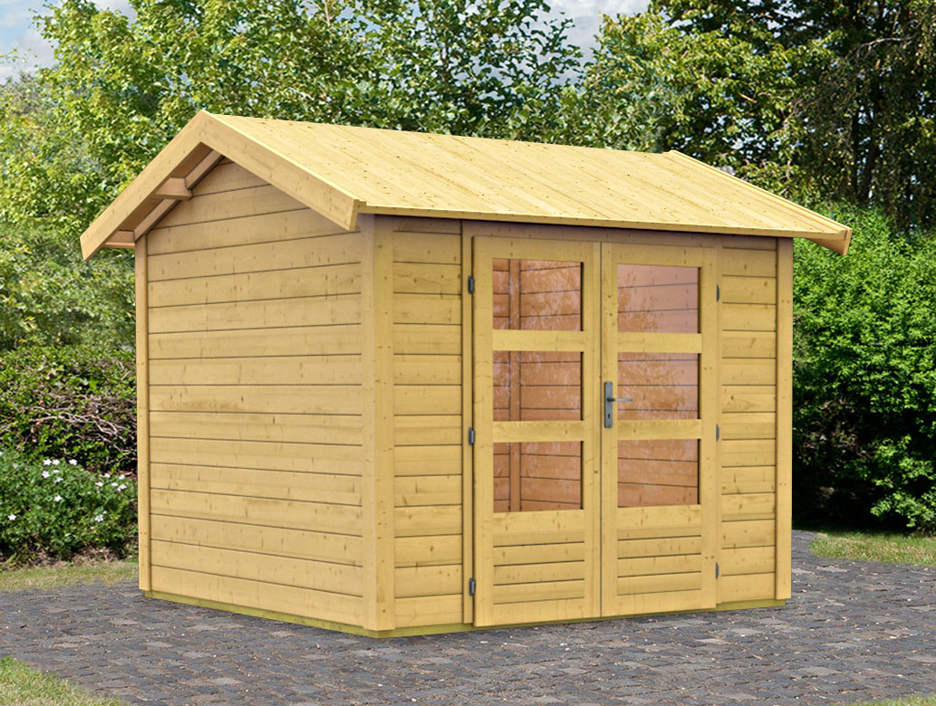 woodfeeling gartenhaus 28 mm thor 3 natur 281x288cm bei. Black Bedroom Furniture Sets. Home Design Ideas