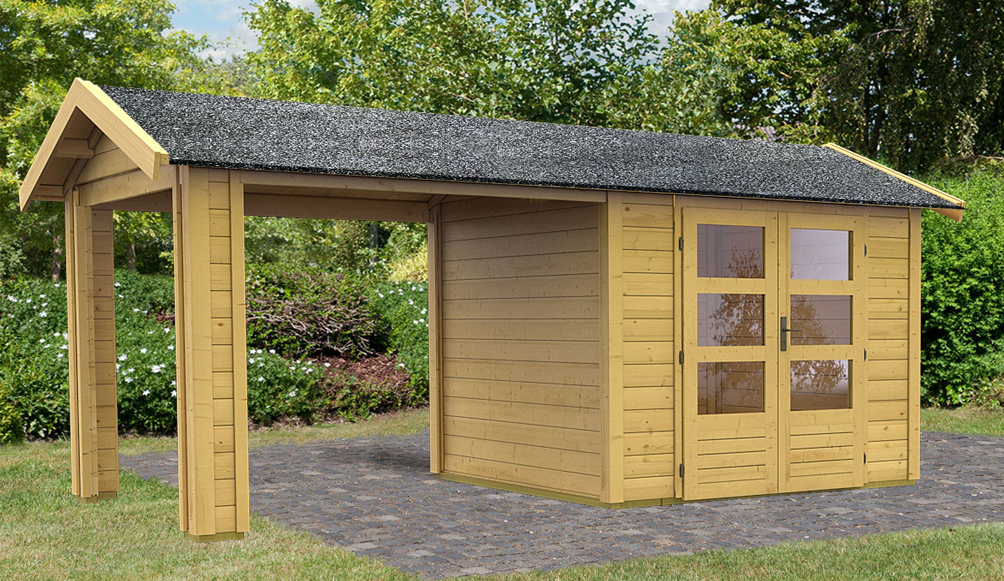 woodfeeling gartenhaus 28 mm thor 3 natur 281x288cm set 1 bei. Black Bedroom Furniture Sets. Home Design Ideas