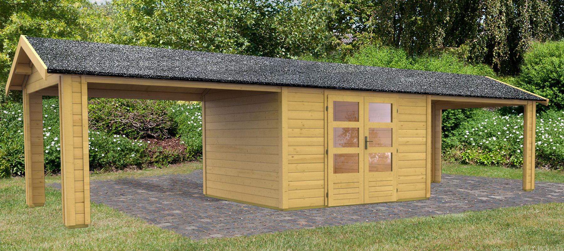 woodfeeling gartenhaus 28 mm thor 7 natur 328x348cm set 2 bei. Black Bedroom Furniture Sets. Home Design Ideas