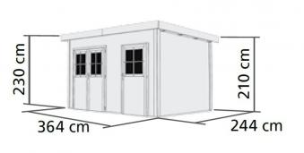 Woodfeeling gartenhaus 28 mm tintrup natur 396x273cm bei for Karibu gartenhaus erfahrung