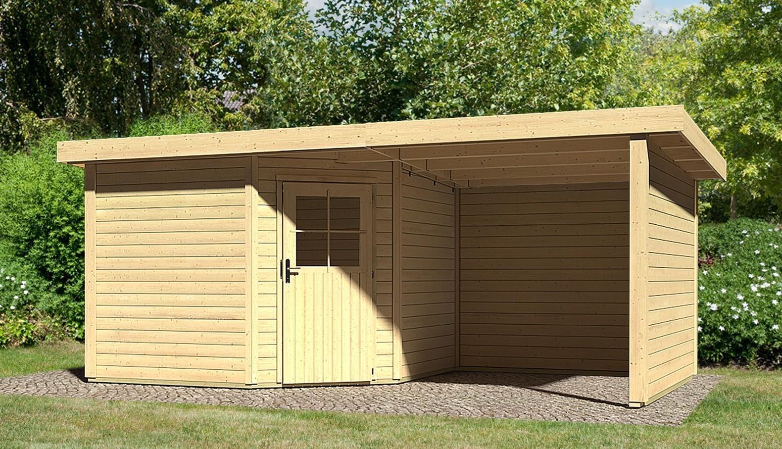 woodfeeling gartenhaus 28mm neuruppin 3 natur dachanbau 240cm wand bei. Black Bedroom Furniture Sets. Home Design Ideas