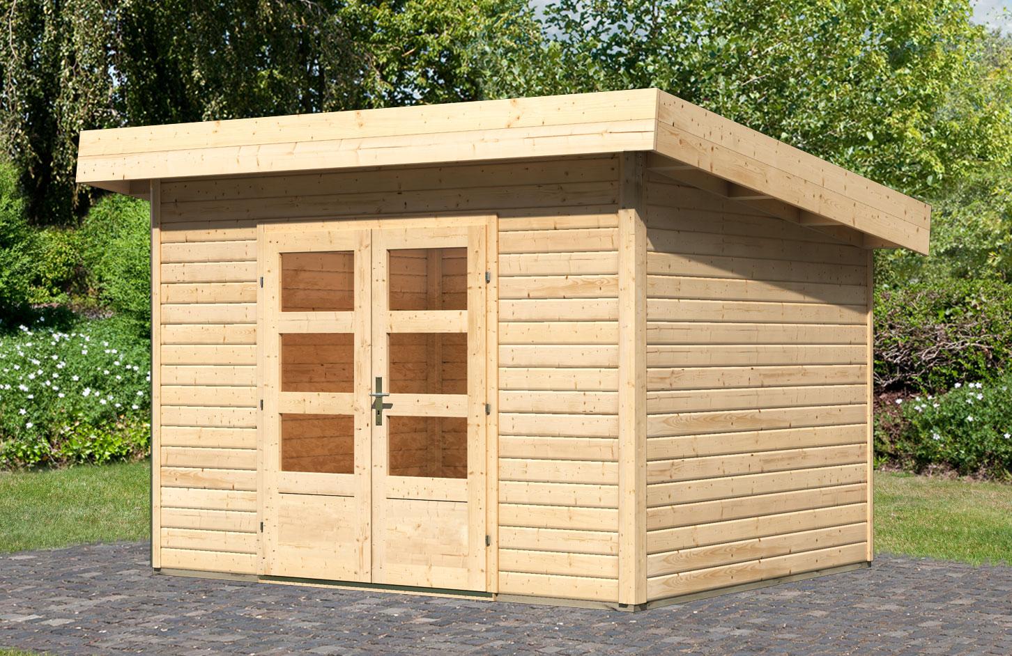 woodfeeling gartenhaus 40 mm northeim 2 natur 358x301cm bei. Black Bedroom Furniture Sets. Home Design Ideas