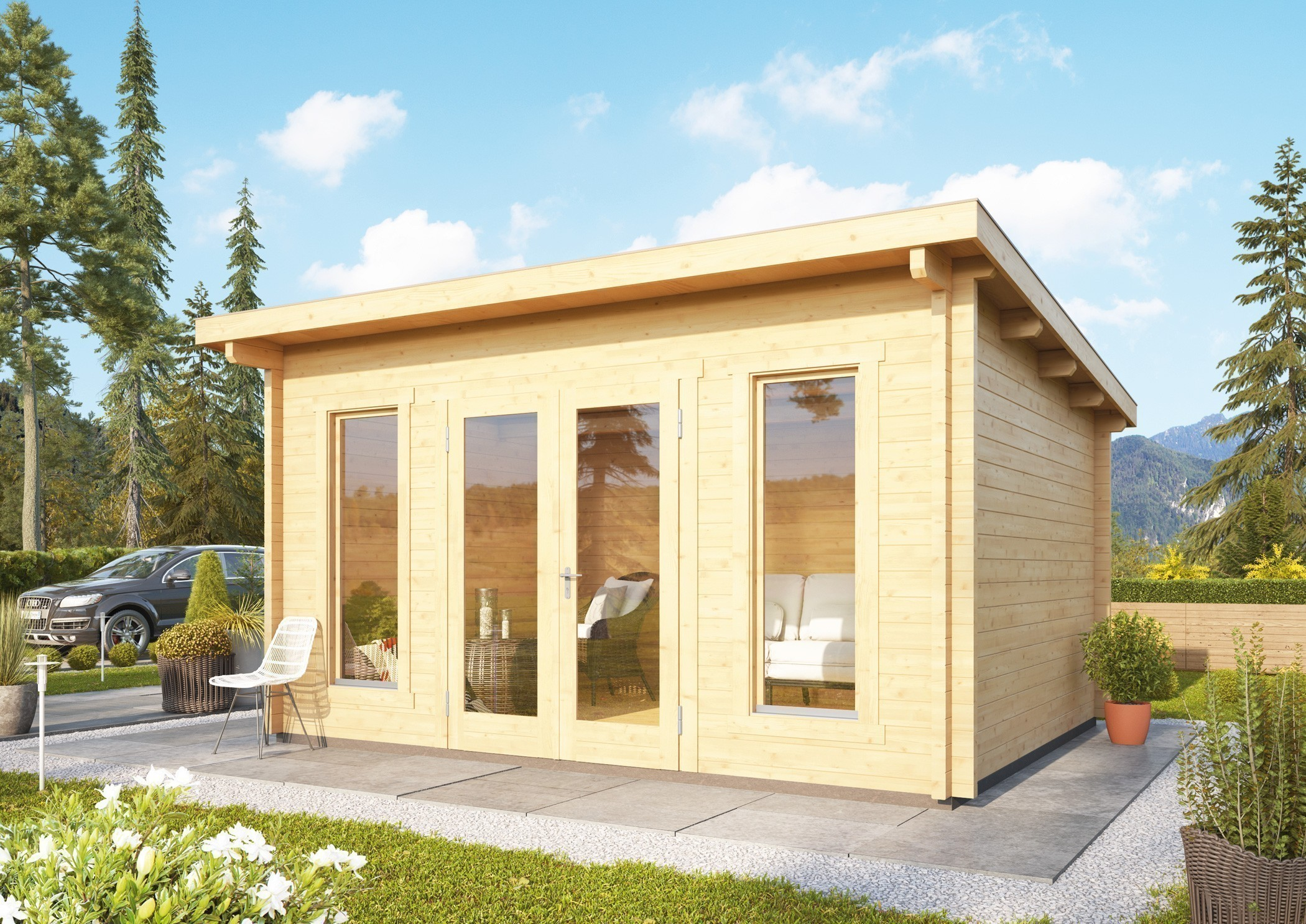 WoodFeeling Gartenhaus 70mm Stavanger 1 natur 400x360cm Bild 1