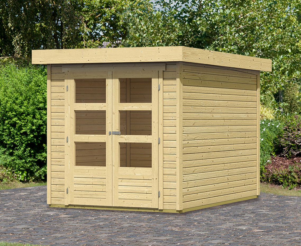 woodfeeling gartenhaus ger tehaus 19mm askola 2 natur 237x237cm bei. Black Bedroom Furniture Sets. Home Design Ideas