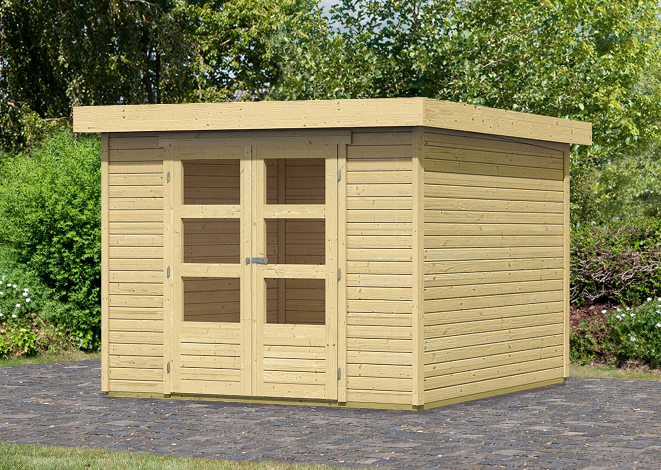 woodfeeling gartenhaus ger tehaus 19mm askola 4 natur 329x237cm bei. Black Bedroom Furniture Sets. Home Design Ideas