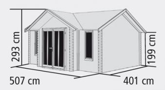 Woodfeeling Blockbohlenhaus 40 mm Nordland natur 548x440cm Bild 2