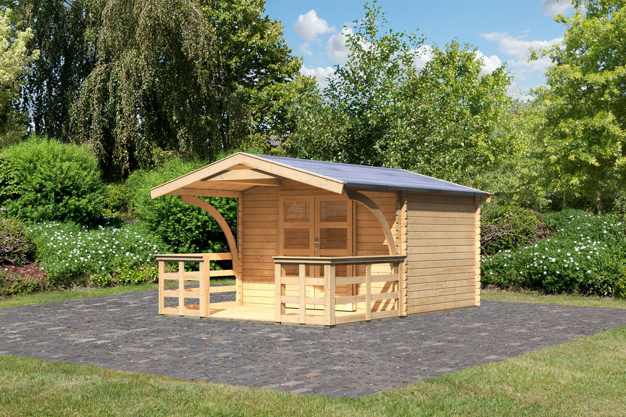 Woodfeeling Gartenhaus 28 mm Bayreuth 3 VD+Terrasse natur 346x456cm Bild 1