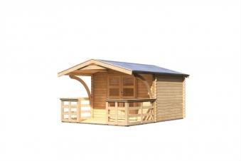 Woodfeeling Gartenhaus 28 mm Bayreuth 3 VD+Terrasse natur 346x456cm Bild 2