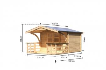 Woodfeeling Gartenhaus 28 mm Bayreuth 3 VD+Terrasse natur 346x456cm Bild 3