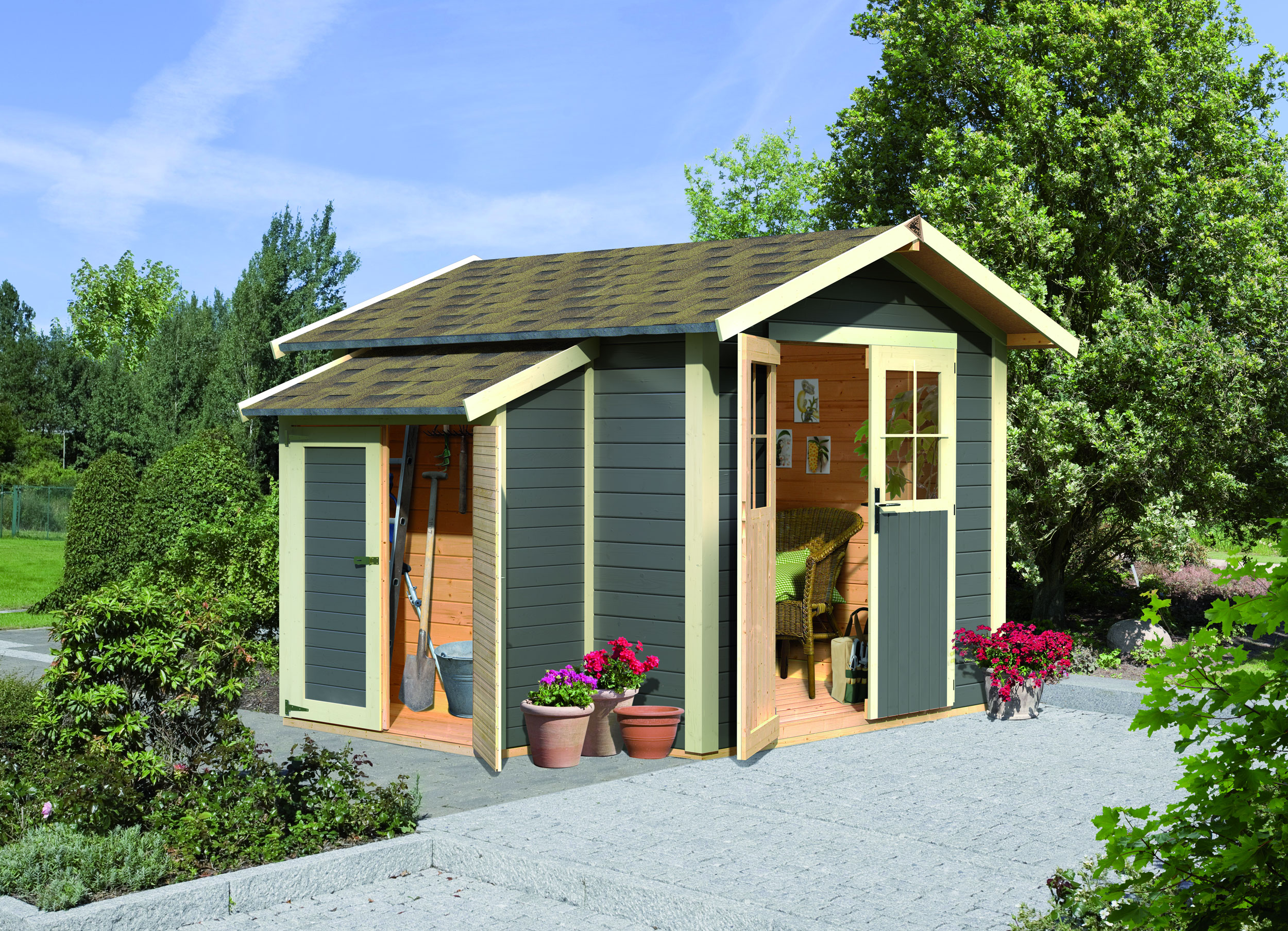 Gartenpavillon holz satteldach - Zaunelemente holz grau ...