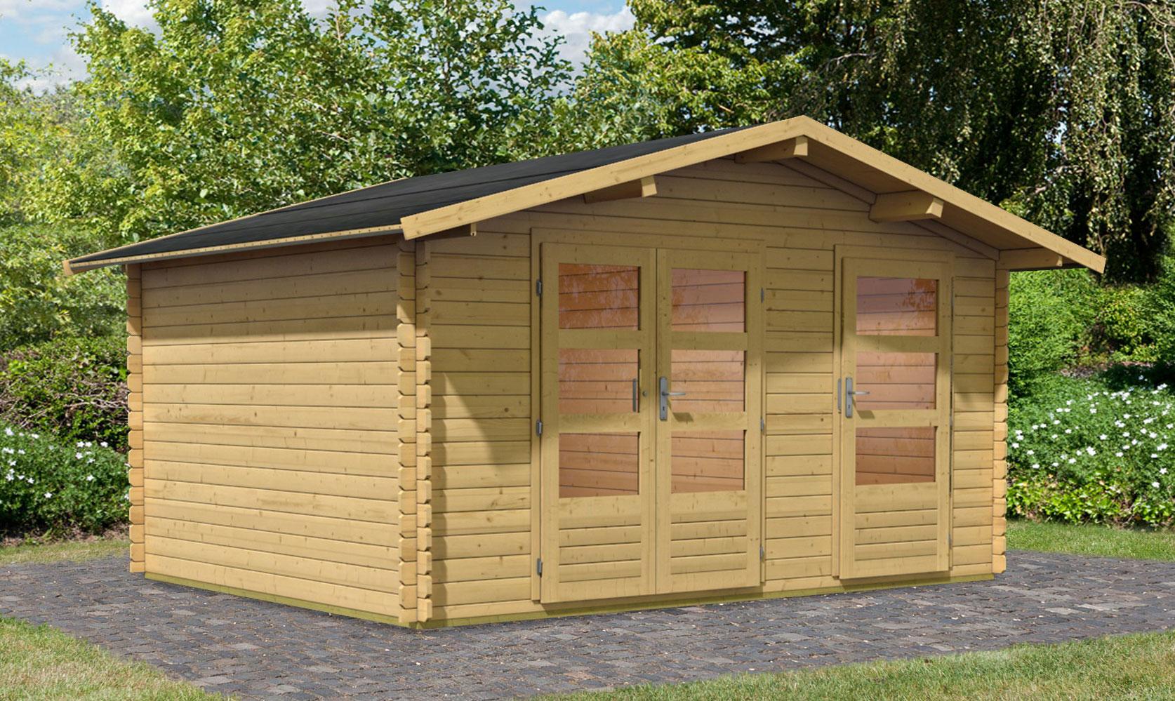 woodfeeling gartenhaus 28 mm radur 1 natur 417x327cm bei. Black Bedroom Furniture Sets. Home Design Ideas