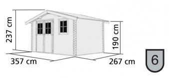 Woodfeeling Gartenhaus 38 mm Felsenau 4 natur 357x267cm Bild 2