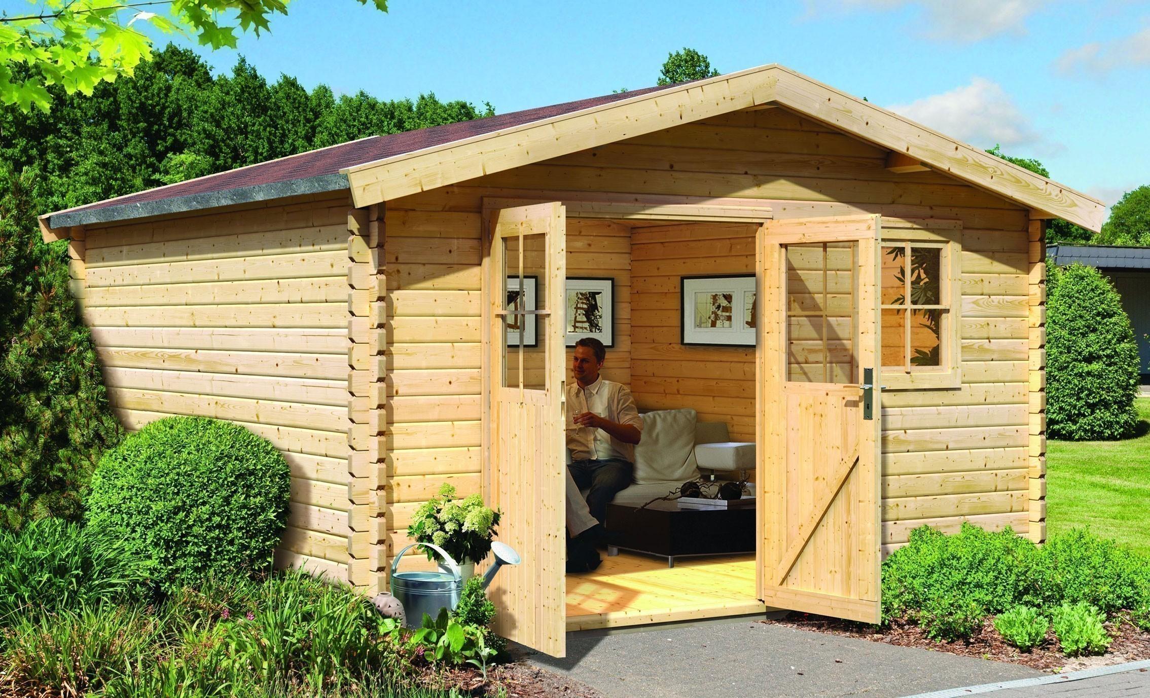 woodfeeling gartenhaus 38 mm felsenau 5 natur 407x320cm bei. Black Bedroom Furniture Sets. Home Design Ideas