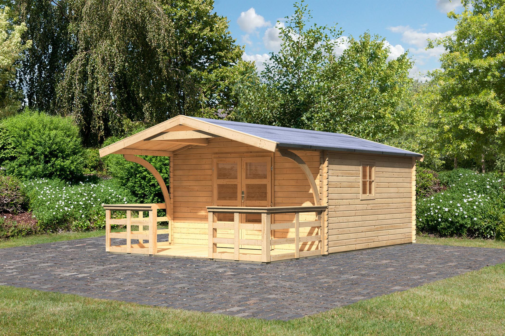 Woodfeeling Gartenhaus 38 mm Meldorf 6 VD+Terrasse natur 404x590cm Bild 2