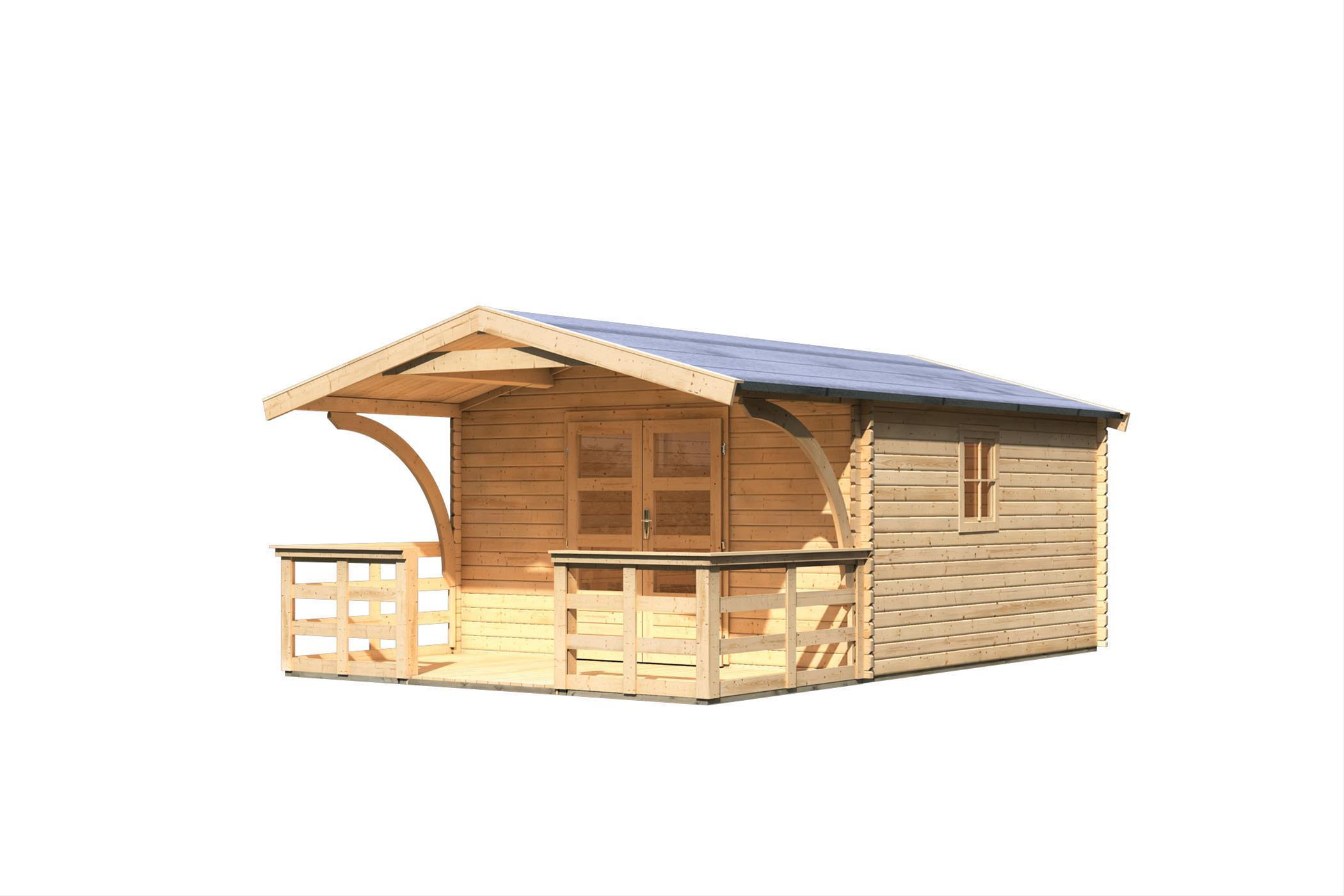 Woodfeeling Gartenhaus 38 mm Meldorf 6 VD+Terrasse natur 404x590cm Bild 3