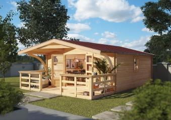 Woodfeeling Gartenhaus 38 mm Meldorf 6 VD+Terrasse natur 404x590cm Bild 1