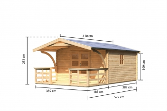 Woodfeeling Gartenhaus 38 mm Meldorf 6 VD+Terrasse natur 404x590cm Bild 4