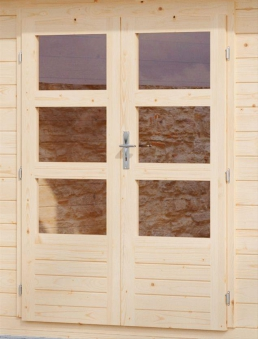 Woodfeeling Gartenhaus 38 mm Meldorf 6 VD+Terrasse natur 404x590cm Bild 6