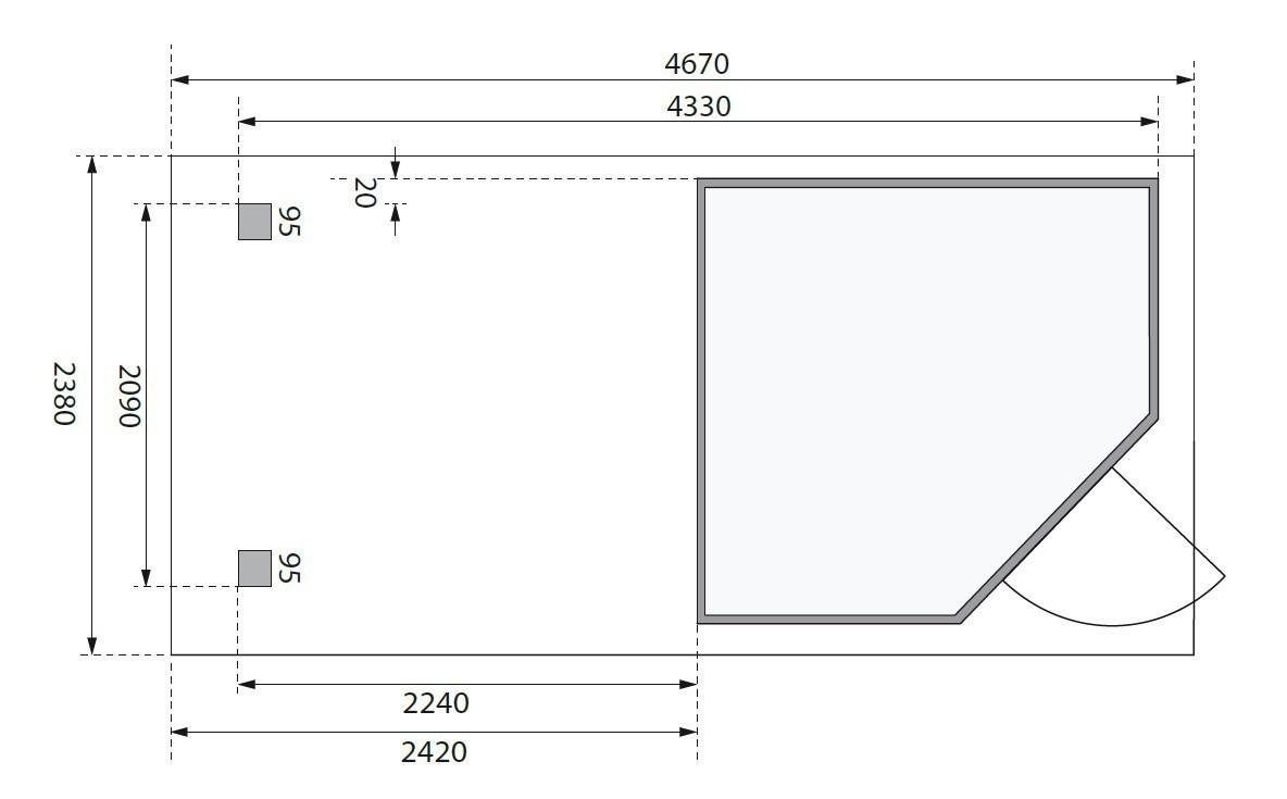 Woodfeeling Gerätehaus 19mm Schwandorf 3 grau Anbau 225cm 467x238cm Bild 2